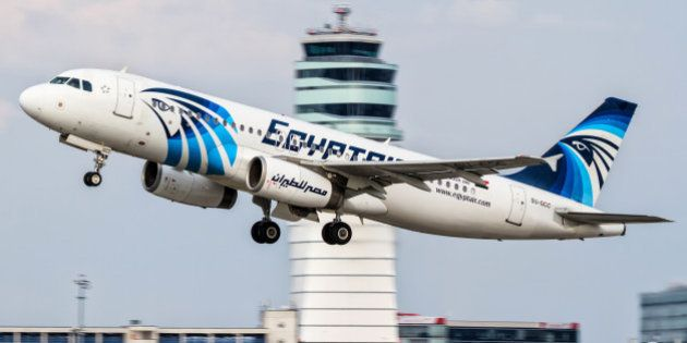 This August 21, 2015 photo shows an EgyptAir Airbus A320 with the registration SU-GCC taking off from...