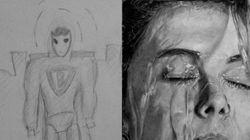Des dessins d'artistes avant/après des années de