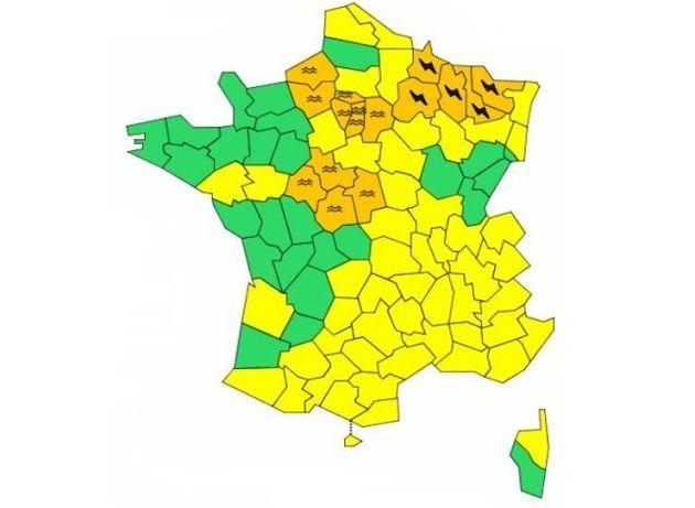 18 départements placés en alerte orange aux crues et