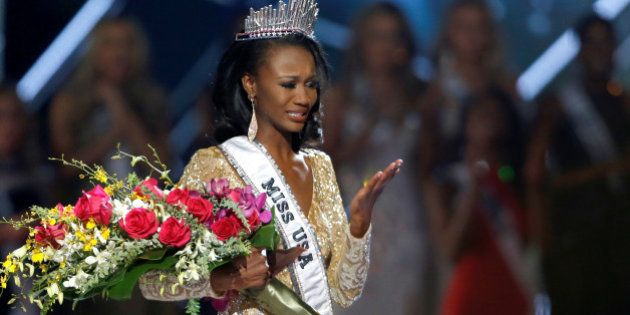 Miss District of Columbia Deshauna Barber reacts after being crowned Miss USA 2016 during the 2016 Miss...