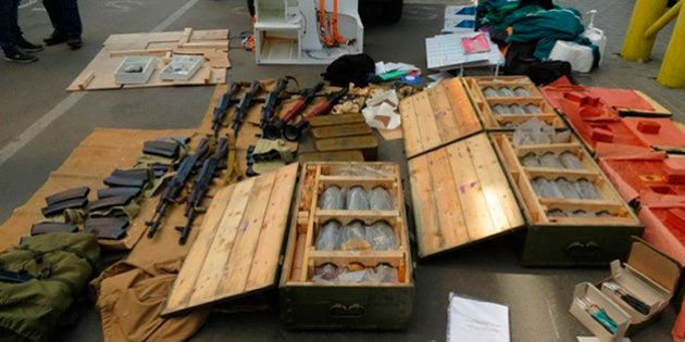 In this image, provided by the Ukrainian Intelligence Agency SBU on Monday, June 6, 2016, confiscated...