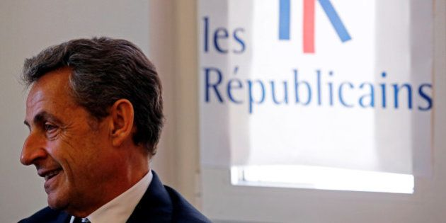 Nicolas Sarkozy, head of France's Les Republicains political party and former French President attends...