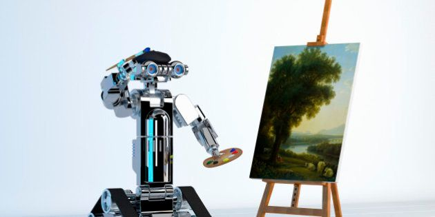 Robot artist painting fine art at