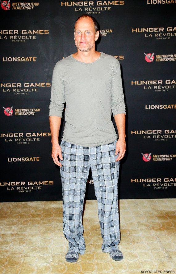 PHOTO. Woody Harrelson en pyjama avant la projection du dernier