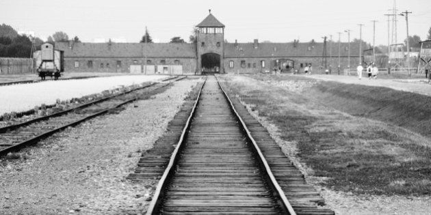 Auschwitz-Birkenau. The rail tracks and entrance gate of this infamous concentration