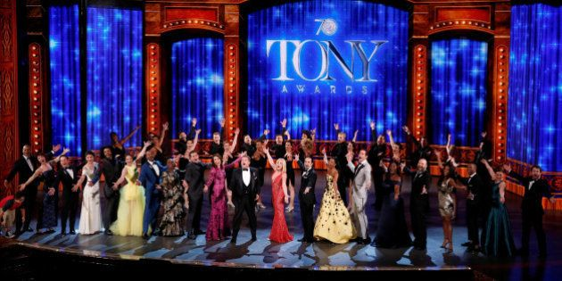 Show host James Corden (front, C) performs with all the nominees during the American Theatre Wing's 70th...