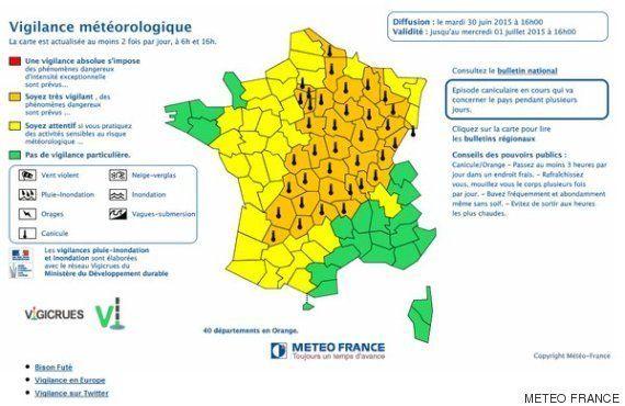 Météo France place 40 départements en vigilance orange