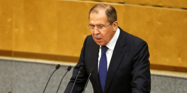Russian Foreign Minister Sergei Lavrov delivers a speech during a session at the State Duma, the lower...
