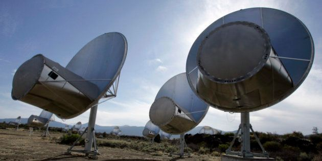 FILE - In this Oct. 9, 2007 file photo, radio telescopes of the Allen Telescope Array are seen in Hat...