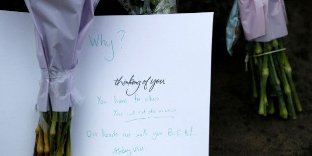 A card in tribute to Jo Cox is seen near the scene where she was killed in Birstall near Leeds, June...