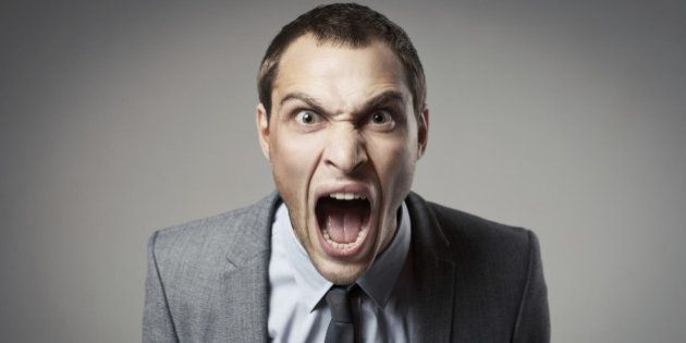 Angry businessman shouting