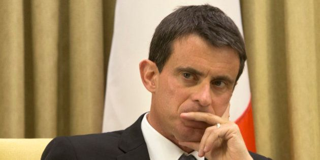 French Prime Minister Manuel Valls, looks on during a meeting with Israel's President Reuven Rivlin at...