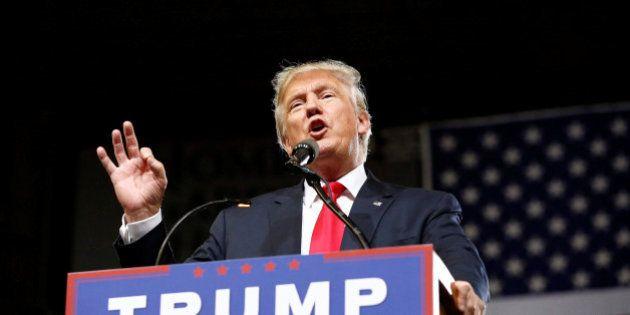 Republican U.S. Presidential candidate Donald Trump speaks at a campaign rally in Phoenix, Arizona, June...