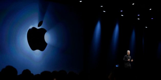 Apple CEO Tim Cook during the keynote address of the Apple Worldwide Developers Conference Monday, June...