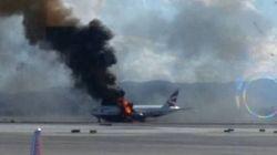 Spectaculaire évacuation d'un avion en feu à Las