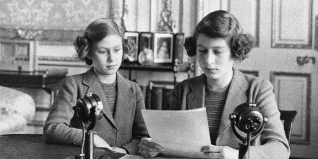 In her first radio broadcast, 14-year-old Princess Elizabeth, right, said that England's children at...