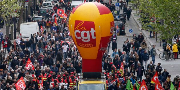 French CGT trade union workers attend a demonstration against the French labour law proposal in Paris,...