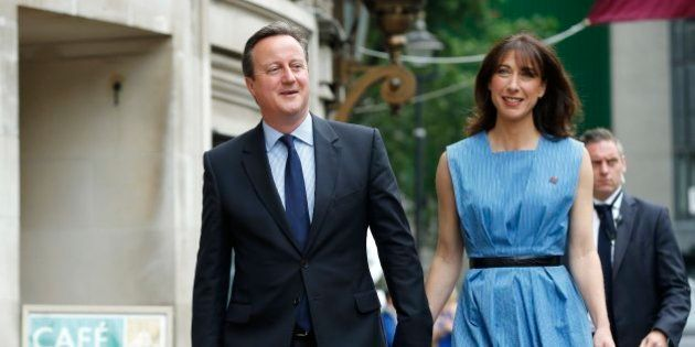 Britain's Prime Minister David Cameron and his wife Samantha arrive to vote in the EU referendum in London,...