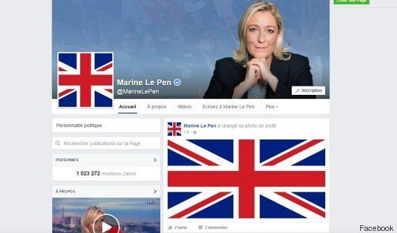 Après le Brexit, Marine Le Pen met l'Union Jack en photo de profil sur les réseaux