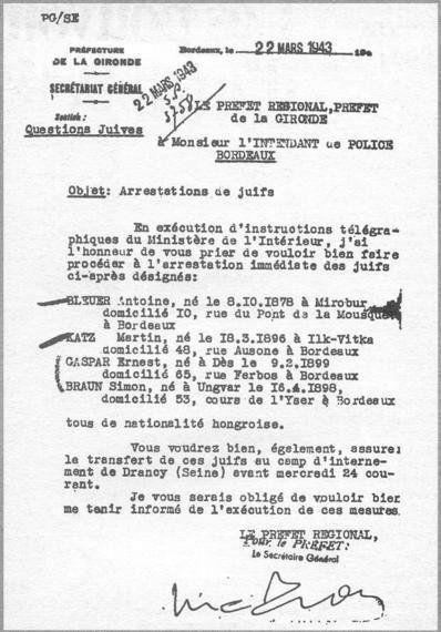 104 ans après sa naissance: la terrible lettre de Maurice Papon à l'Intendant de police de