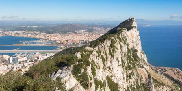 Gibraltar. View from top of the Rock towards Spain and La Linea de la