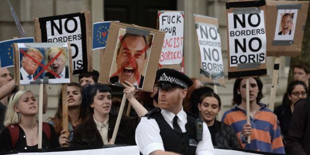 LONDON, ENGLAND- JUNE 24: Young protesters demonstrate outside Downing Street, following the United Kingdom's...