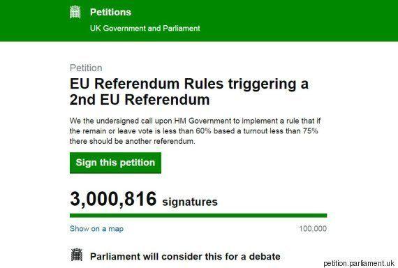 Plus de trois millions de signatures pour une pétition demandant un 2e référendum sur le