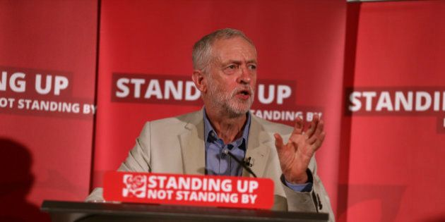 Labour Party leader Jeremy Corbyn speaks on immigration and moving on after the EU referendum, in central...