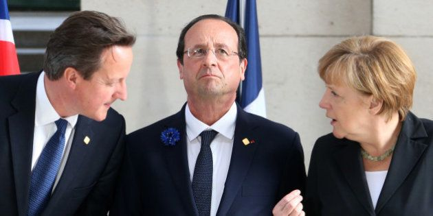 (L-R) Britain's Prime Minister David Cameron, France's President Francois Hollande and Germany's Chancellor...