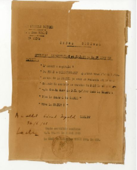 Lettre du Général Leclerc à ses troupes: