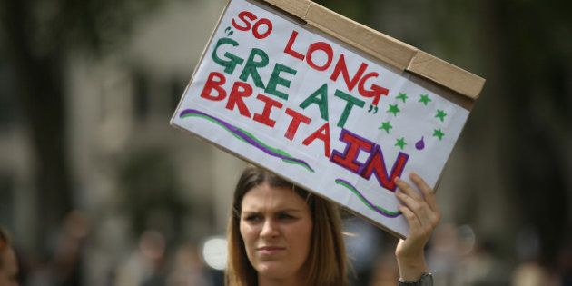 Demonstrators opposing Britain's exit from the European Union in Parliament Square following yesterday's...