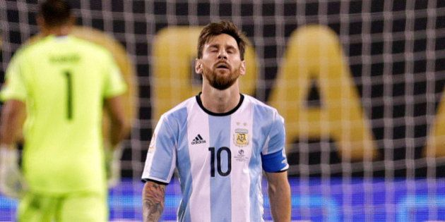 Jun 26, 2016; East Rutherford, NJ, USA; Argentina midfielder Lionel Messi (10) reacts after missing a...