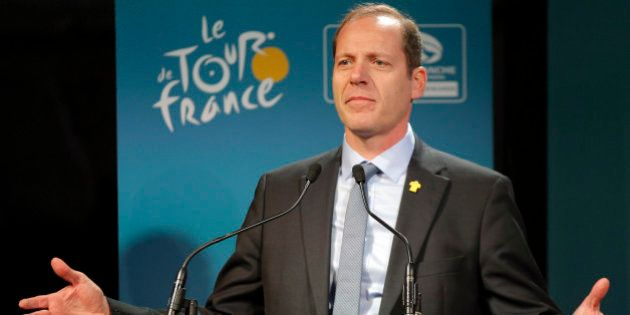 Tour de France director Christian Prudhomme delivers his speech during the presentation of the start...