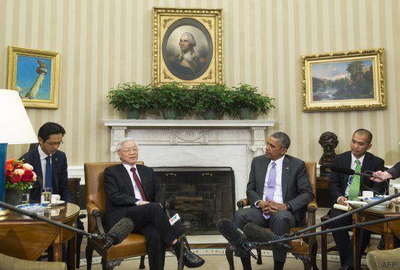 PHOTOS. Barack Obama et le n°1 du PC vietnamien côte-à-côte dans le Bureau