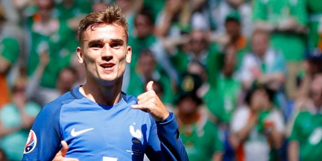 France's Antoine Griezmann celebrates after scoring his side's second goal during the Euro 2016 round...