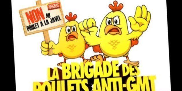 Le Front de gauche mise sur des poulets géants pour intéresser les électeurs aux
