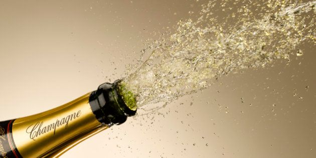 Champagne exploding from