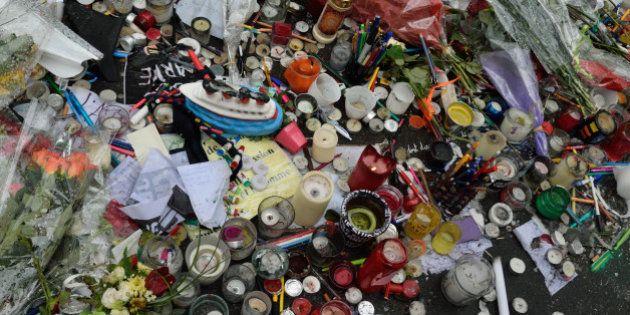 Tribute to murdered journalists of Charlie Hebdo, rue Nicolas Appert, Paris, 11e.