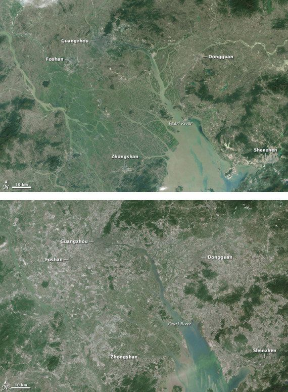 PHOTOS. L'impressionnante transformation du delta de la rivière des Perles en Chine en moins de 30