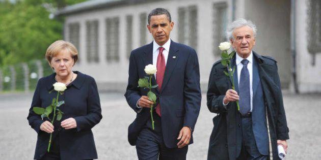 US President Barack Obama, German Chancellor Angela Merkel and holocaust survior Elie Wiesel make their...