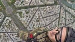 Il filme son saut en parachute au-dessus de