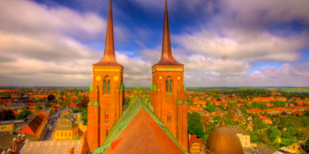 Twin Towers of Roskilde  Cathedral, Seen from the roof,  Roskilde, Denmark, Brick Gothic Cathedral, Burial place for Danish kings for centuries, UNESCO World Heritage Site