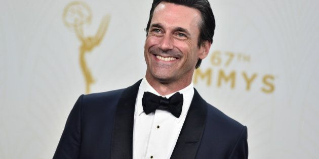 """Jon Hamm with the award for outstanding lead actor in a drama series for """"Mad Men"""" poses in the press..."""