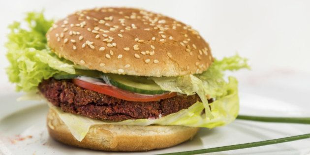 vegetarian burger with vegetables and grain
