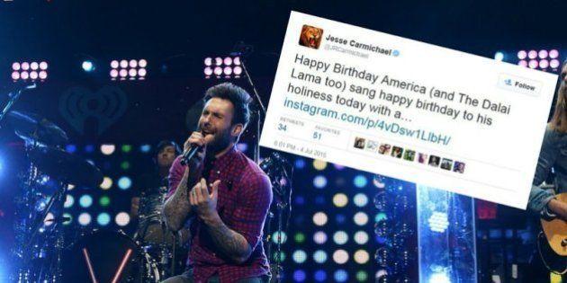 PHOTO. Un concert de Maroon 5 en Chine annulé, sans doute à cause d'un tweet sur le dalaï