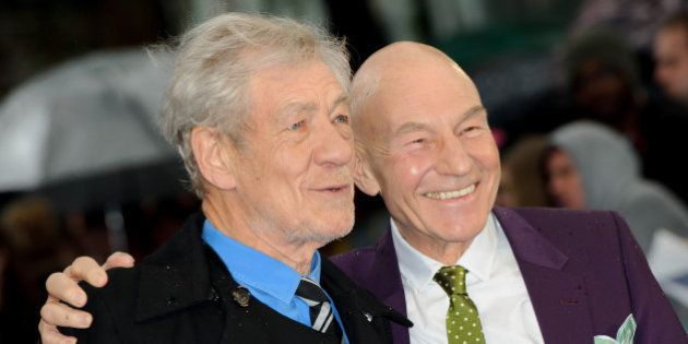 From left, British actors Patrick Stewart and Ian McKellen arrive for the UK Premiere of X-Men Days Of...