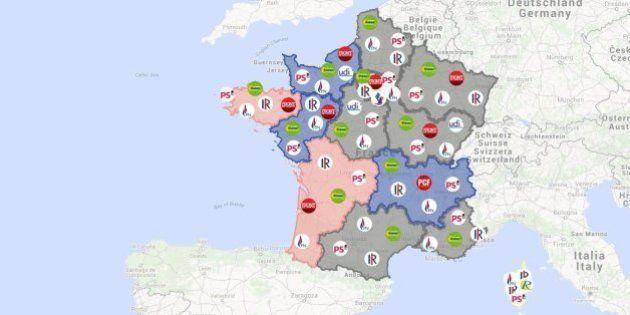 La carte des résultats des élections régionales 2015, région par