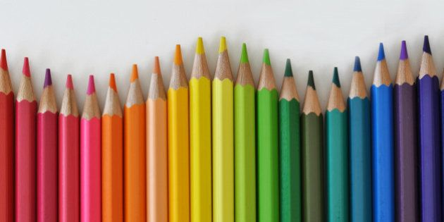 colored pencils arranged in the shape of