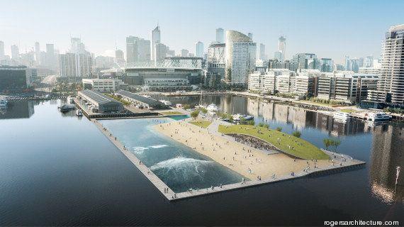 Du surf dans une piscine à vagues en plein centre-ville de Melbourne: le projet fou d'un architecte