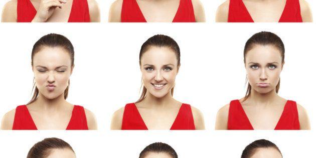 Brunette girl expression collection set